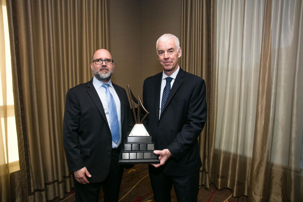 Richard Tremblay (right) 2018 Mining Person of the Year, with Robert Rotzinger (left), Taseko's VP, Capital Projects